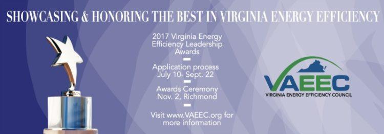 Apply Now for the 2017 Virginia Energy Efficiency Leadership Awards